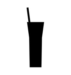 silhouette cocktail straw beverage icon vector image vector image