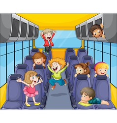 kids in the bus vector image vector image