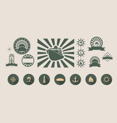 set of travel emblems and design elements vector image