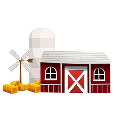 silo and barn painted in red color vector image