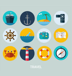 travel icons flat design of icons vector image vector image