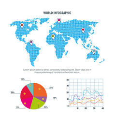 world map infographic pie chart graph vector image