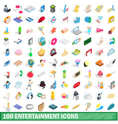 100 entertainment icons set isometric 3d style vector image vector image