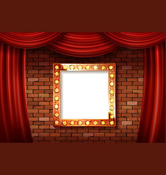 3d render marquee light square board sign vector