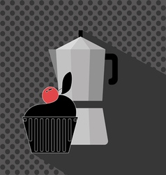 A metal jar of coffee with a black cake with red c vector image