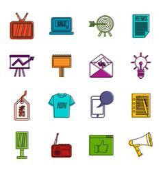 Advertisement icons doodle set vector