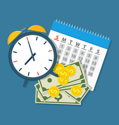 alarm clock calendar money vector image