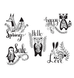 Animals with messages vector