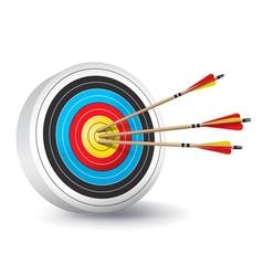Archery target with arrows in bullseye vector
