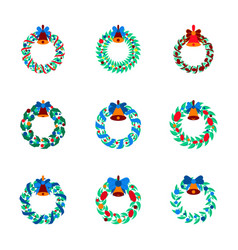 Assembly flat christmas wreath vector
