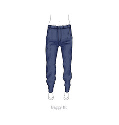 baggy fit style jeans female denim pants vector image