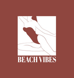 Beach vibes hand drawn girl in vector