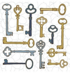 Beautiful hand drawn vintage keys collection vector image