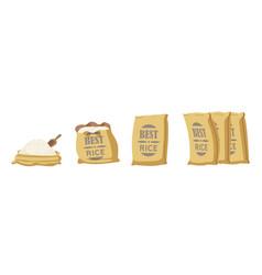 Best rice burlap bags open sacks with farm vector