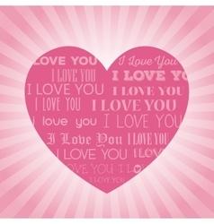 big pink heart i love you lettering light vector image