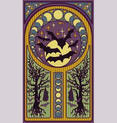 black bats and full moon art nouveau style card vector image