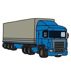 Blue long semitrailer vector