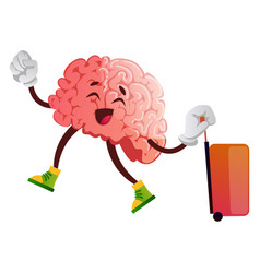 Brain is going on a trip on white background vector