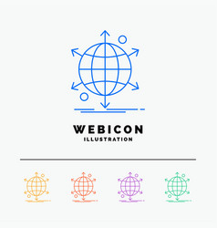 business international net network web 5 color vector image