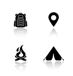 Camping drop shadow icons set vector