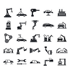 Car factory icons set simple style vector