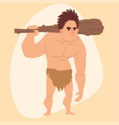 Caveman primitive stone age cartoon man vector