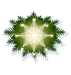christmas decoration with fir branches and lamps vector image