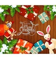 Christmas gift on wooden background greeting card vector