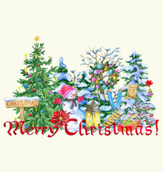 Christmas greeting card with snowman vector