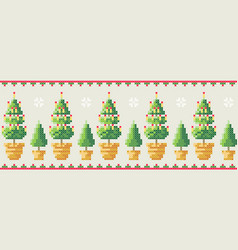 christmas trees in a pot with snowflakes pattern vector image