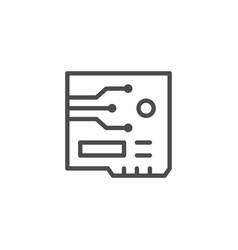 Circuit board line outline icon vector