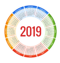 colorful round calendar 2019 design print vector image