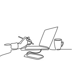 Continuous line drawing of laptop computer coffee vector
