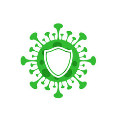 Covid-19 with shield icon design style on white vector