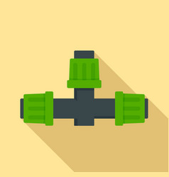 Cross pipe irrigation icon flat style vector