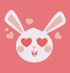 Cute bunny head crazy in love vector