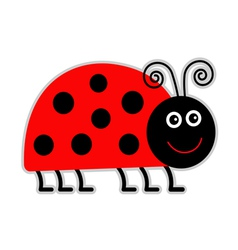 Cute cartoon lady bug Isolated vector