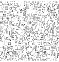Decorative cosmetics doodle seamless pattern vector image