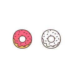delicious doughnut linear icon sweet vector image