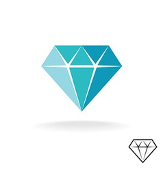 Diamond logo Blue diamond symbol Jewellery shop vector