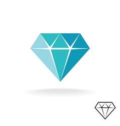 Diamond logo blue symbol jewellery shop vector