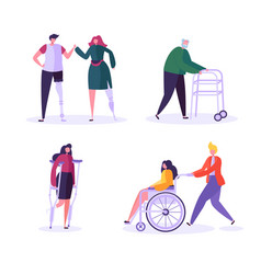 disabled people characters woman in wheelchair vector image