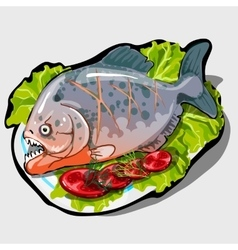 Dish with cooked fish and vegetables icon closeup vector