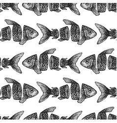Dotwork sliced fish seamless pattern vector