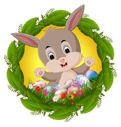 Easter bunny in leaf frame vector