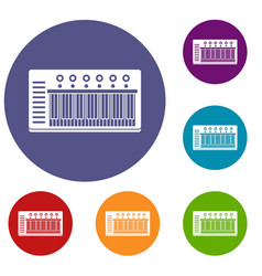 Electronic synth icons set vector