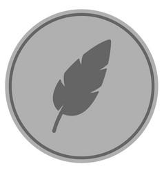 feather silver coin vector image