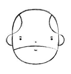 Figure nice businessman face to kawaii avatar vector