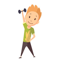 Fitness sport boy lifting weight and making vector