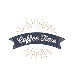 flag ribbon coffee time old school flag banner vector image